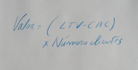 Valor = (LTV - CAC) x Número de clientes